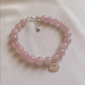 Rose Quartz Sterling Silver Lotus Charm Bracelet